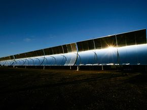 Parabolic troughs, like these used in Colorado, concentrate the sun's energy to great temperatures.