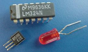 Clockwise from top: A chip, an LED and a transistor are all made from semiconductor material. See more electronics parts pictures.