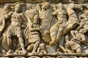 This detail from the Arch of Galerius in Greece shows the Emperor Galerius (left) in battle. Whether anyone died from his stench is not recorded.