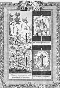 """Composite engraving from Dr. Southwell's """"New Book of Martyrs,"""" showing tortures of the Spanish Inquisition"""