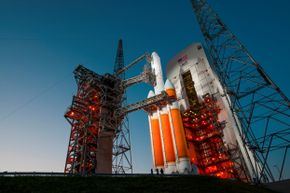 A 24-story Delta IV-Heavy rocket is poised for launch on Cape Canaveral's Complex 37B in July 2012. The payload? A classified spy satellite for the National Reconnaissance Office dubbed NROL-15.