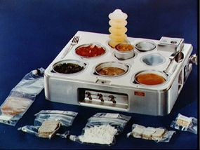 The Skylab program of the 1970s used trays like this to keep food in place.