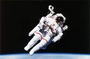 U.S. astronaut Bruce McCandless wore the first nitrogen-propelled, hand-controlled, tether-free space suit in 1984.