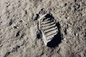 Without any wind to blow them away, the footprints on the moon aren't going anywhere. This one is from Buzz Aldrin's boot.