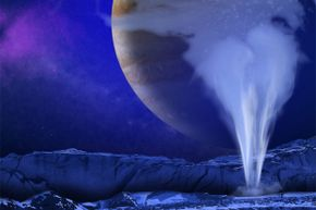 Artist's concept of one of Europa's water vapor plumes, which seem as though they could very well put Earth's geysers to shame.