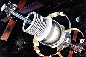 Exterior view of a Bernal sphere space station where the sphere is the living area