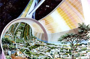 Artist's concept of the interior of a space station colony