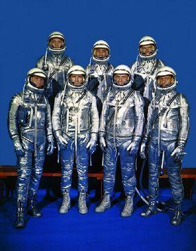 Original Mercury astronauts in their space suits