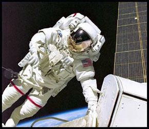 Space suits provide oxygen, temperature control and some protection from radiation.