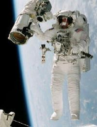 An astronaut on a space walk.
