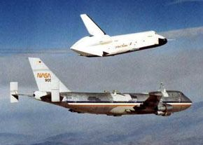 The Enterprise separates from a Boeing 747 to begin one of its flight and landing tests