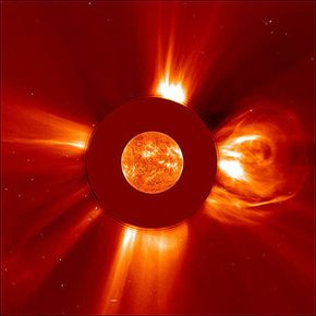 An image of the sun captured on April 2, 2001, by the Extreme ultraviolet Imaging Telescope (EIT) during the biggest solar flare ever recorded.