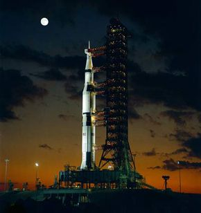 The Apollo 4 spacecraft on top of a Saturn V launch vehicle.