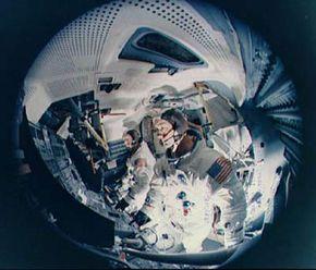 A fish-eye view of a lunar module simulator. Looks cozy, doesn't it?