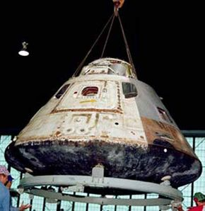 An Apollo command module on display