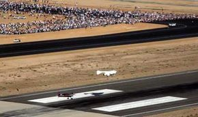 SpaceShipOne coming down for a landing at the Mojave Airport and Spaceport.