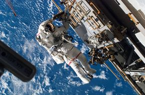 Astronaut Rick Mastracchio, STS-118 mission specialist, participates in the third planned session of construction and maintenance on the International Space Station.