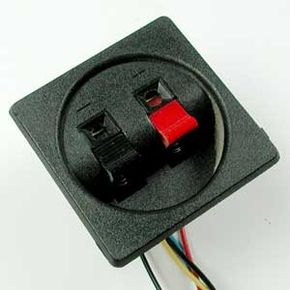 The typical crossover unit from a loudspeaker: The frequency is divided up by inductors and capacitors and then sent on to the woofer, tweeter and mid-range driver.