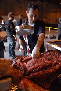 """Special makeup effects person Bryan Blair works on a mannequin for the TV show, """"Crossing Jordan."""""""
