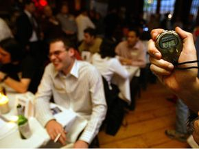 Speed daters move from table to table in timed increments. See more love images.