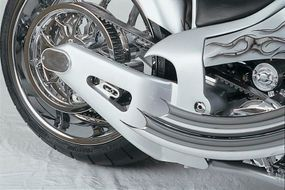 """""""Peaked"""" sculpting at the trailing edges of Speed Demon's frame and exhaust pipes mirror the contours of the fender."""