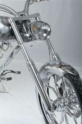 Speed Demon has a steady chrome finish adding cohesiveness from its headlight to the fender.