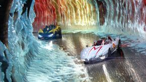 Emile Hirsch and Matthew Fox as Speed Racer and Racer X, respectively, compete in a race.