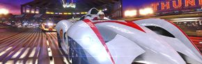 Emile Hirsch as Speed Racer in one of the many racing scenes in the movie.