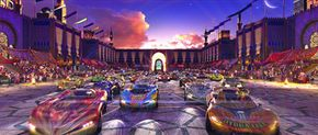 The cars and the background scene were all created digitally.