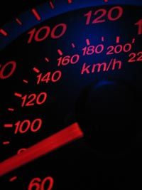 The needle of a speedometer