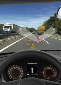 A head-up speedometer display