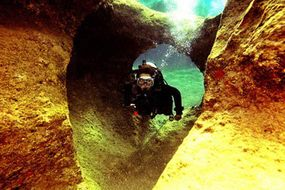 K. Gokce Okumus dives in a cave near Kemer, Turkey. Cave diving is an opportunity to marvel at the wonders of nature underwater, but shouldn't be attempted without proper training, certified guides and special equipment.