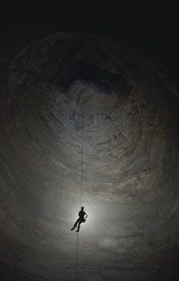 The drop in Ellison Cave's Fantastic Pit is 586 feet (179 m). Beautiful, yes, but dangerous without the right equipment.