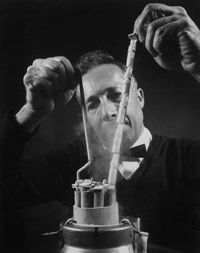 Dr. Jerome K. Sherman holds frozen sperm for future use. Sherman discovered the method of successfully freezing and thawing sperm that made sperm banks possible.