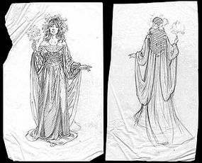 Two-piece drawing of Arwen, signed by the artist: $850.00