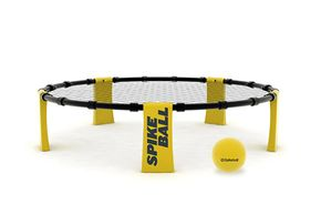 A spikeball net and ball.