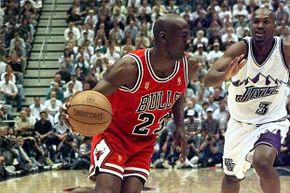 Michael Jordan didn't play like a man with stomach flu in Game 5 of the 1997 NBA finals. He scored 38 points and helped his team to a narrow victory over the Utah Jazz.