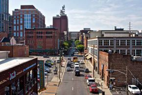 Though this street in downtown Nashville looks quiet, commuters in Music City spend more time in their cars than anywhere else in the U.S.A.