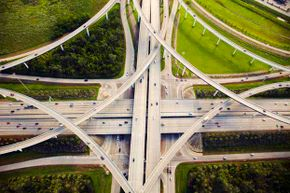 An aerial view of traffic and overpasses in Houston which spans a massive 600 square miles.