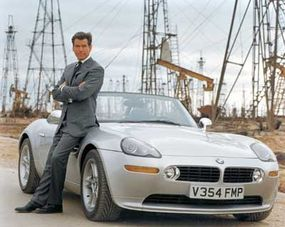 """Pierce Brosnan as Bond, with his BMW Z8 from """"The World is Not Enough."""""""