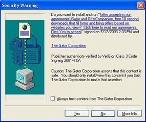 Internet Explorer security warning