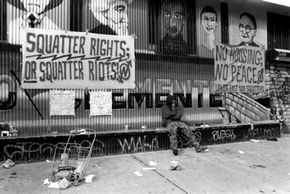 """Politics were at the fore of the """"Battle for 13th Street"""" in New York. Hundreds of squatters had inhabited government-owned buildings for 12 years, but were forcibly removed by police in 1995."""