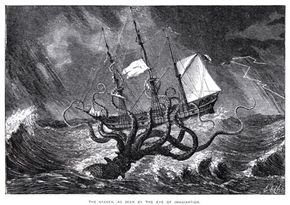 """The Kraken, a mythical giant squid, attacks a ship in an illustration from John Gibson's """"Monsters of the Sea."""""""