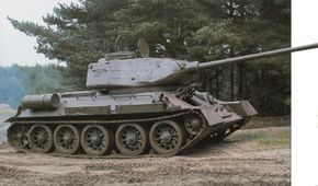 The T-34 Medium Tank was up-gunned in 1943 with an 85mm main gun.