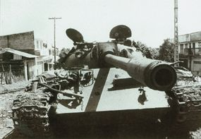 The T-55 Main Battle Tank was basically the T-54 with a new turret and more powerful engine.