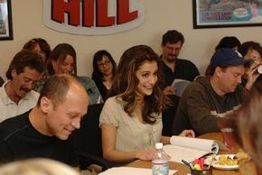 KING OF THE HILL.(L-R:) Creator and exec. producer Mike Judge as Hank Hill, Brittany Murphy as LuAnne and exec. producer Dave Krinsky during a table read.