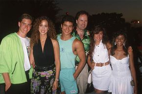 Zack Morris (played by Mark-Paul Gosselaar, left) is just dreaming up an elaborate fantasy where he's a stud; deep down, he's still the dork from Indiana he was in his previous show.