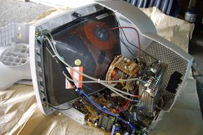 """In this """"cutaway view,"""" it's easy to see how large the glass tube of a CRT screen is."""