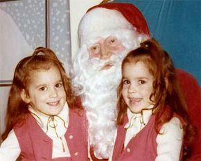 The author with her twin when they were children.