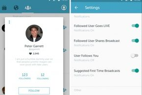 The Periscope app's profile view (left) and settings screen